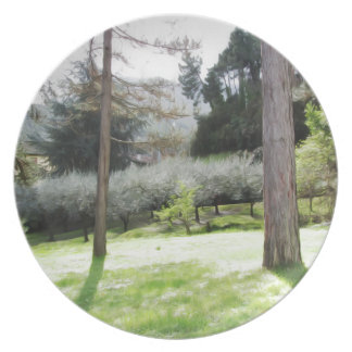 Artistic representation of tuscan countryside plate