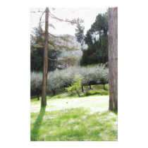 Artistic representation of tuscan countryside stationery