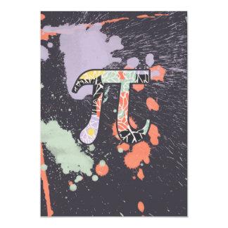 Artistic Retro Pi Day 5x7 Paper Invitation Card