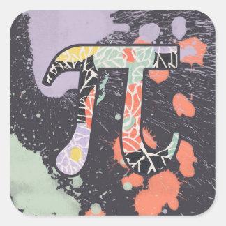 Artistic Retro Pi Day Square Sticker