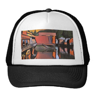 Artistic River Through Town Water Reflection Trucker Hat