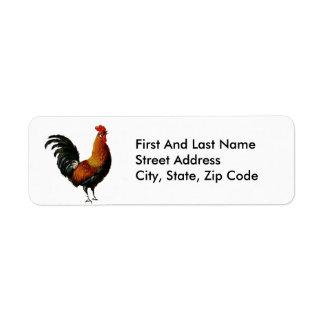 Artistic Rooster Design Label