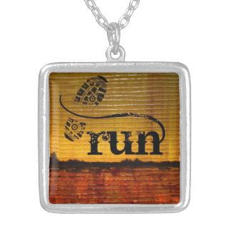 Artistic Runner w/shoe Square Pendant Necklace