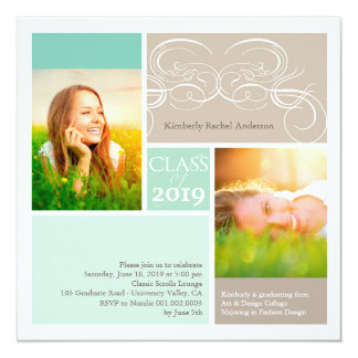 Artistic Scrolls Frame Squares Graduation Photo Invitations