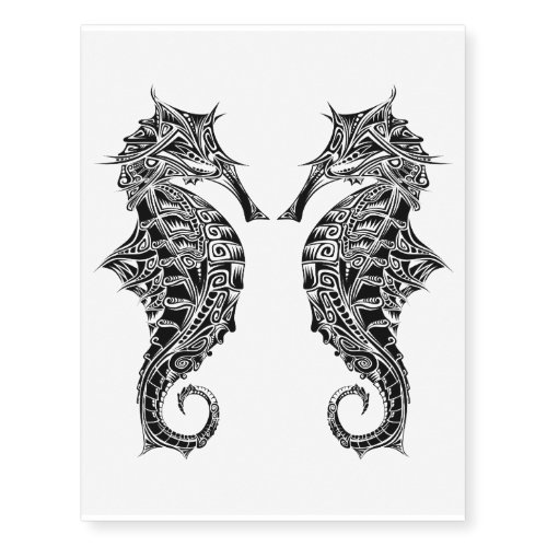Artistic Seahorse Temporary Tattoos