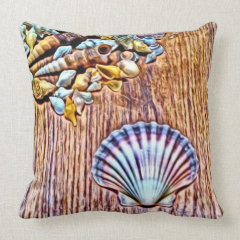 Artistic Seashells Throw Pillow