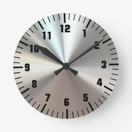 Artistic silver metal round clock