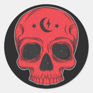 Artistic Skull (red) Classic Round Sticker