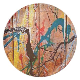 Artistic Splattered Paint on Wood Dinner Plate