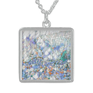 Artistic Stained Glass Angel Blowing Kiss Sterling Silver Necklace