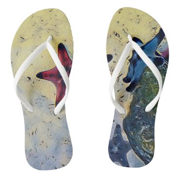 Beach Themed Artistic Star Fish On Ocean Sand Flip Flops