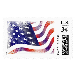 Artistic Style American Flag Postage Stamps