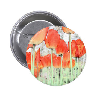 artistic style red tulip flowers. floral garden button