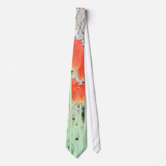 artistic style red tulip flowers. floral garden neck tie