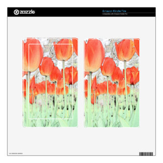 artistic style red tulip flowers. decals for kindle fire