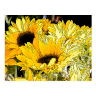 Artistic Sunflower Postcard