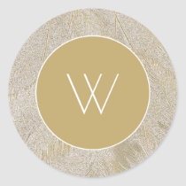Artistic Swan Feathers Classic Round Sticker