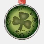 Artistic swirls shamrock design christmas ornament