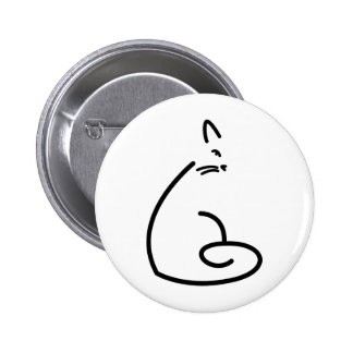 Artistic Swirly Cat Silhouette Button