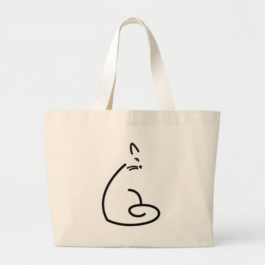 Artistic Swirly Cat Silhouette Large Tote Bag