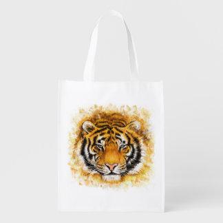 Artistic Tiger Face Reusable Grocery Bag