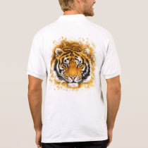 Artistic Tiger Face White Polo Shirt