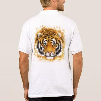 Artistic Tiger Face White Polo Shirt