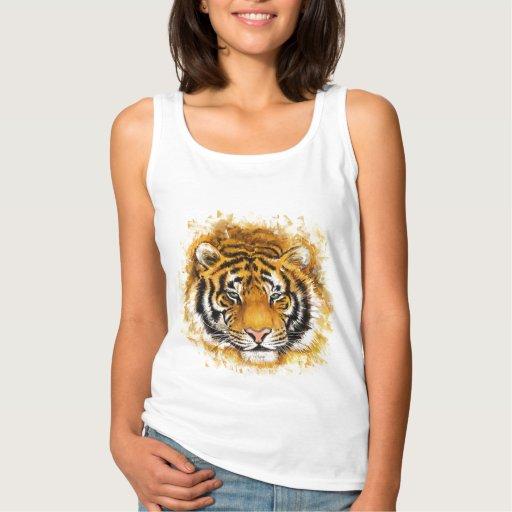 Artistic Tiger Face White Tank Top Tank Tops, Tanktops Shirts