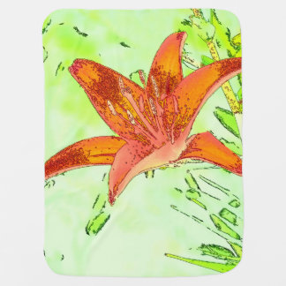 Artistic Tiger Lily Baby Blanket