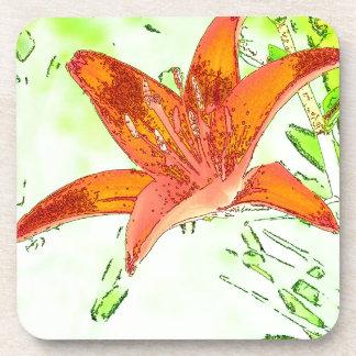Artistic Tiger Lily Beverage Coaster