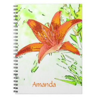 Artistic Tiger Lily Personalized Notebook