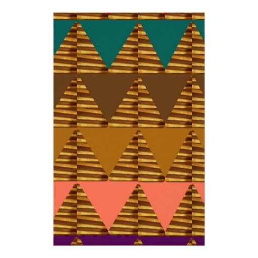ARTISTIC Triangle ART: Colorful Fabric Look Patter Customized Stationery