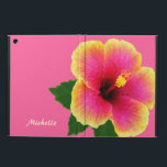 """Artistic Tropical hibiscus Flower on Pink Case For iPad Air<br><div class=""""desc"""">Protect your iPad air in beauty with this case featuring a digital painting of a bright tropical hibiscus flower on a bold pink background. Personalize with your name or other text. Click customize it to change the font and text placement.</div>"""