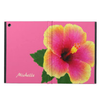 Artistic Tropical hibiscus Flower on Pink Case For iPad Air