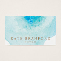 Artistic Turquoise Blue Abstract Watercolor Business Card