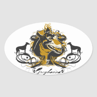 Artistic Urban Greyhound Dog Breed Design Oval Sticker