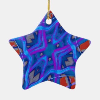 Artistic Vibrant Texture Double-Sided Star Ceramic Christmas Ornament