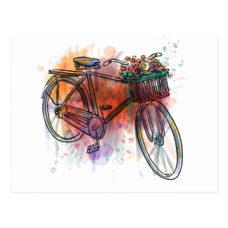 Artistic Vintage Bike Postcard