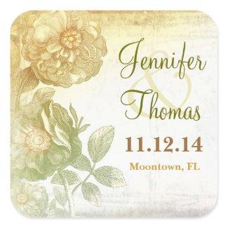artistic vintage floral wedding stickers