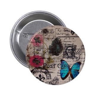 artistic vintage flowers postmark Paris chic Buttons