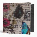 Artistic vintage postmark poppy flower Paris chic 3 Ring Binder