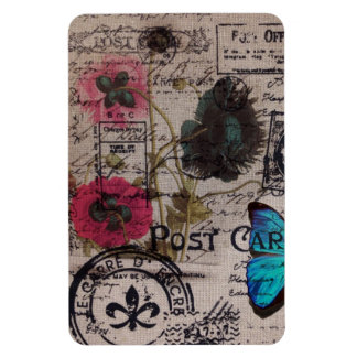 Artistic vintage postmark poppy flower Paris chic Flexible Magnets