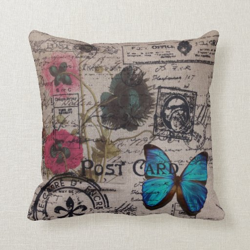 Artistic vintage postmark poppy flower Paris chic Throw Pillow