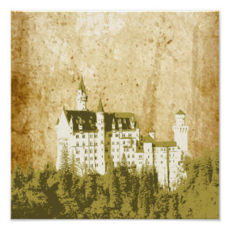 Artistic Vintage White Fantasy Castle Poster