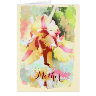 Artistic water colour Parrot Tulip custom text Card