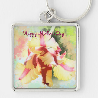 Artistic water colour Parrot Tulip Keychain