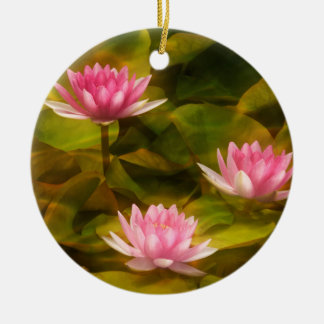 Artistic water lilies, California Ceramic Ornament