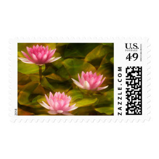 Artistic water lilies, California Postage