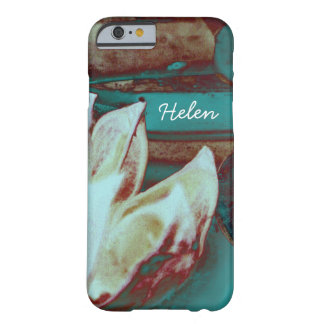 Artistic Water Lilly in Red and Blue Custom Name Barely There iPhone 6 Case