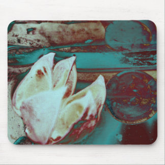 Artistic Water Lilly in Red and Blue Mouse Pad